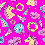 Seamless pink pattern with pony Royalty Free Stock Images