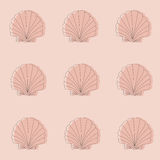 Seamless pink pattern with seashells. Line work. Royalty Free Stock Images