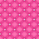 Seamless pink quilted background with pearl pins. Royalty Free Stock Photography
