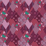 Seamless pink retro patchwork pattern Stock Images