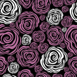 Seamless pink rose pattern vector illustration