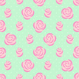 Seamless pink roses pattern on mint green background. Royalty Free Stock Image