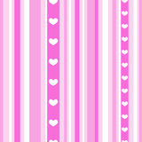 Seamless pink stripes with hearts Stock Photo