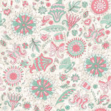 Seamless pink summer pattern with flowers Stock Photo