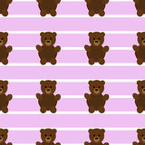 Seamless Pink Teddy Bear Patter. Teddy bear pattern. Simple illustration of teddy bear vector pattern for web Royalty Free Stock Image