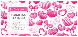 SEAMLESS Pink texture with hearts, butterflies Stock Photos