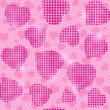 Seamless Pink Pattern with Halftone Heart Silhouettes Stock Photos