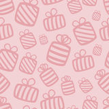 Seamless pink vector gift pattern Stock Images