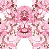 Seamless pink watercolor pattern of doodle elements. Seamless pink watercolor pattern of doodle elements for background Stock Photo
