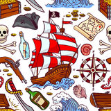 Seamless pirate attributes royalty free illustration