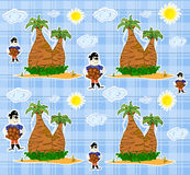 Seamless pirate island illustration kids backgroun Royalty Free Stock Photo