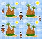 Seamless pirate island illustration kids backgroun Royalty Free Stock Photo