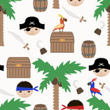 Seamless pirate kids retro background pattern Stock Images