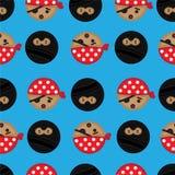 Seamless Pirate and Ninja background tile. Seamless and repeatable background tile with Ninjas and Pirates stock illustration