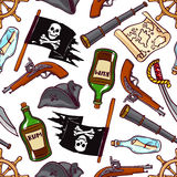 Seamless pirated attributes Royalty Free Stock Photos