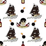Seamless pirates themed background drawings by hand. Pirate symbols-swords, a ship with black sails, skull and bones, a jointer. Vector illustration royalty free illustration
