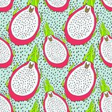 Seamless pitaya fruit pattern. Vector illustration for menu, wallpapers and scrapbooks. Seamless pitaya fruit pattern. Vector illustration for menu, wallpapers Royalty Free Stock Images