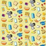 Seamless pixel breakfast pattern. Vector Royalty Free Stock Images