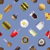 Seamless pixel breakfast pattern vector. Seamless pixel breakfast pattern vector illustration. Fast food computer design symbol retro game web graphic Stock Photos