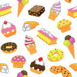 Seamless pixel cakes pattern Stock Photo