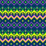 Seamless pixel geometric folk pattern background Royalty Free Stock Photos