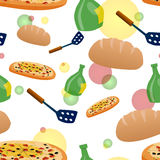 Seamless pizza and food background Stock Images