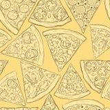 Seamless pizza mönstrar Arkivbild