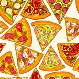 Seamless pizza mönstrar Royaltyfria Bilder