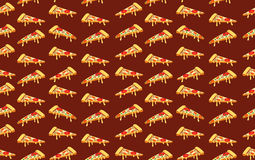 Seamless pizza pattern on dark red. VECTOR Royalty Free Stock Image