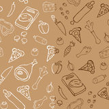 Seamless pizza pattern. Seamless pizza ingredients pattern vector Stock Photo