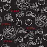 Seamless pizza pattern. Retro design. Vector illustration. Stock Photography