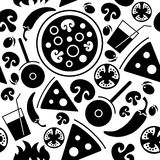 Seamless Pizza pattern. Stock Photos
