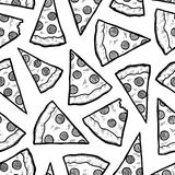 Seamless pizza slice vector background Stock Images