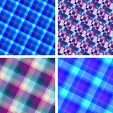 Seamless plaid patterns. Collection of blue violet plaid patterns royalty free illustration