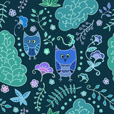 Seamless plants and owls vector pattern. Royalty Free Stock Photography