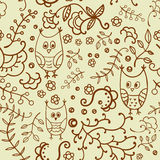 Seamless plants and owls vector pattern. Stock Photo