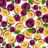 Seamless plum fruit sliced pattern Stock Photography