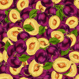 Seamless plum fruit sliced pattern Royalty Free Stock Images