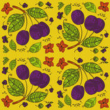 Seamless Plums colored background. Seamless Plum fruits pattern. See my other works in portfolio Stock Illustration