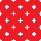 Seamless plus pattern on red Stock Image