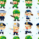 Seamless police and soldier pattern Stock Images