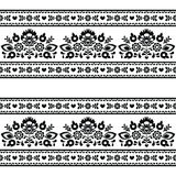 Seamless Polish black folk pattern with flowers on white Royalty Free Stock Photo