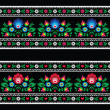 Seamless Polish folk art pattern with flowers - wzory lowickie on black Royalty Free Stock Photos