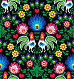Seamless Polish folk art pattern with roosters  Stock Photos