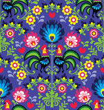Seamless Polish folk art pattern with roosters - Wzory Lowickie, Wycinanka Stock Photography
