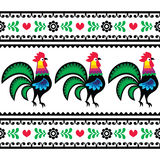 Seamless Polish folk art pattern with roosters - Wzory lowickie, Wycinanka Stock Photos