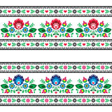 Seamless Polish folk pattern with flowers. Repetitive colorful background - polish folk art decoration elements royalty free illustration