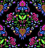Seamless Polish pattern. Seamless folk pattern. . ornamental traditional floral elements and lace curves Royalty Free Stock Images