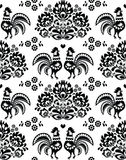 Seamless Polish, Slavic black folk art pattern with roosters - Wzory Lowickie, wycinanka Royalty Free Stock Image