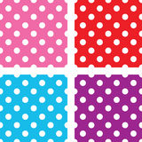 Seamless polka dot background set Stock Images